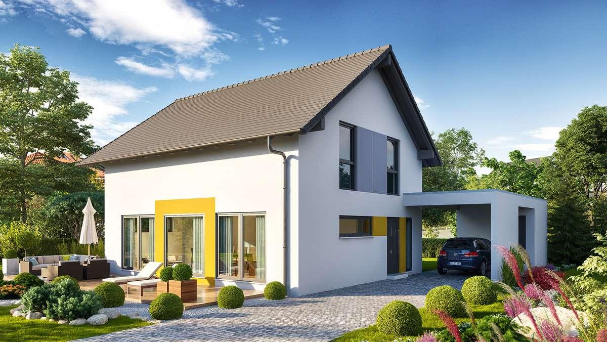 Einfamilienhaus mit gelb-weißer Fassade