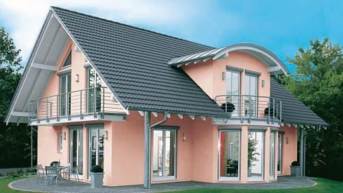 Haus mit rosa Fassade