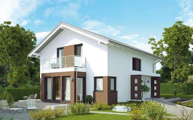 Modernes Haus in weiss und braun